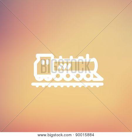 Railroad train icon thin line for web and mobile, modern minimalistic flat design. Vector white icon on gradient mesh background.
