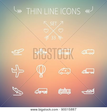 Transportation thin line icon set for web and mobile. Set includes- fire truck, trucks, plane, ships, hot air balloon icons. Modern minimalistic flat design. Vector white icon on gradient mesh