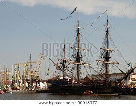 Parade of tall ships in Szczecin.