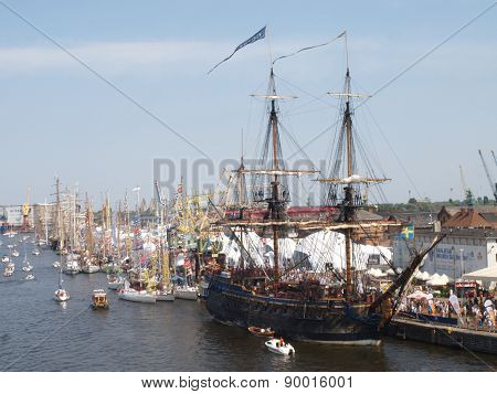 Parade of tall ships in Szczecin.