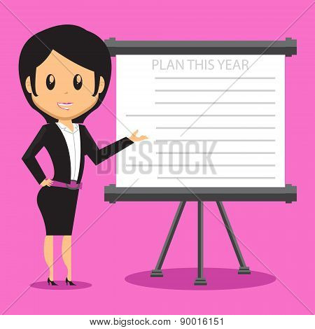 Office Lady Presenting Plan
