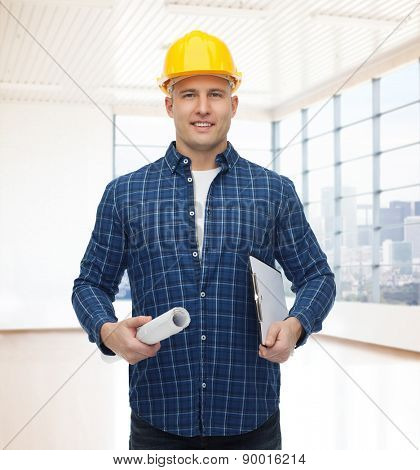 repair, construction, building, people and maintenance concept - smiling male builder or manual worker in helmet with blueprint and clipboard over empty flat background