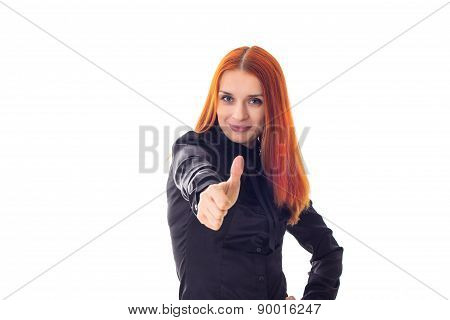 Portrait of a beautiful redhead woman showing sign super