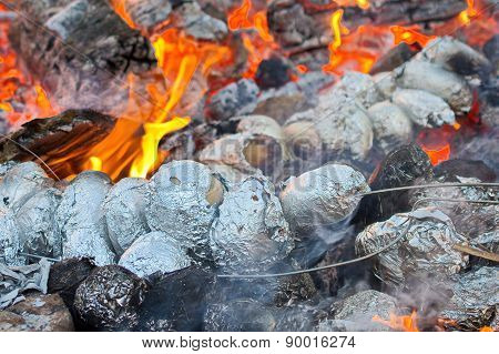 Potatoes Baking In A Bonfire
