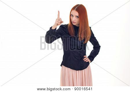 Attractive redhead beautiful woman threatening finger