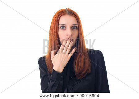 Woman surprised , covering her mouth with hand