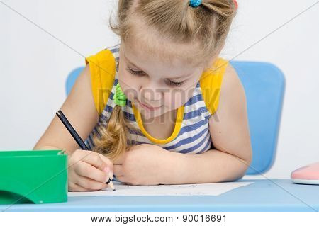 The Girl Draws Pencil Concentration