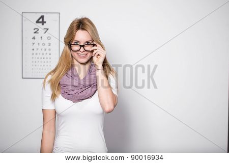 Woman At Optician's Office