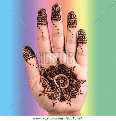 Henna hand tattoo decoration art clipping path square colur