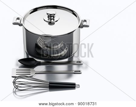 3d Kitchen utensils and metallic pan.