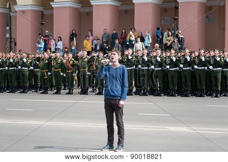 Singer At Rehearsal Of Military Parade