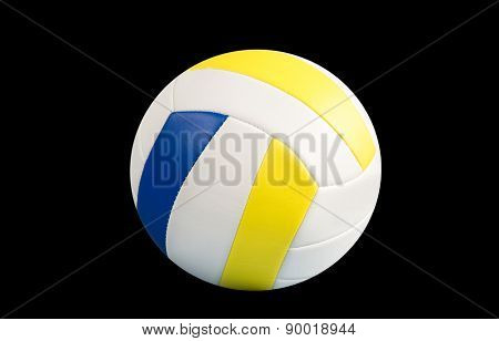Dark blue, yellow Volley-ball ball on a black background