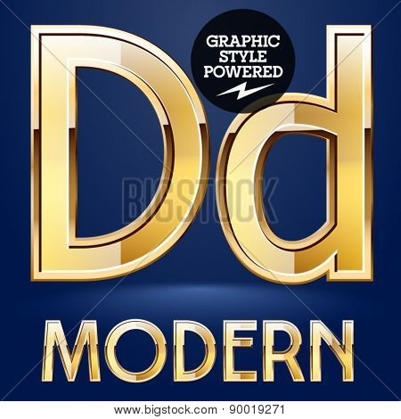 Vector set of modern golden glossy font. Letter D