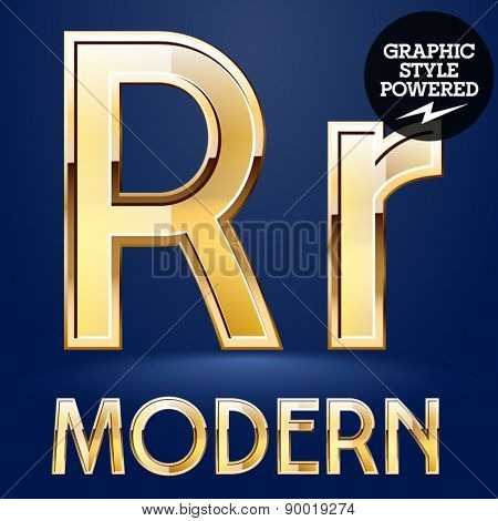 Vector set of modern golden glossy font. Letter R