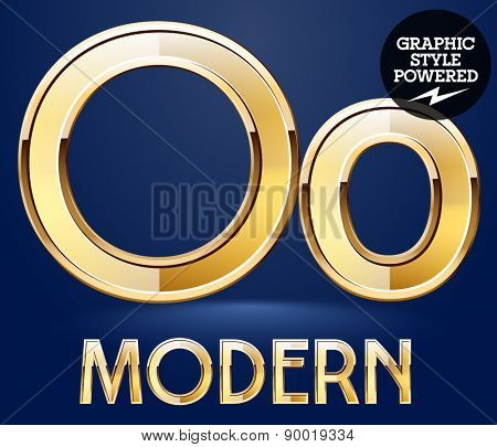Vector set of modern golden glossy font. Letter O