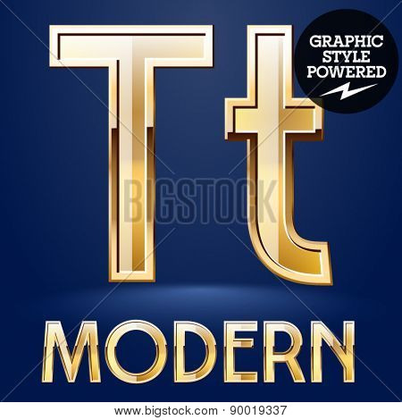 Vector set of modern golden glossy font. Letter T