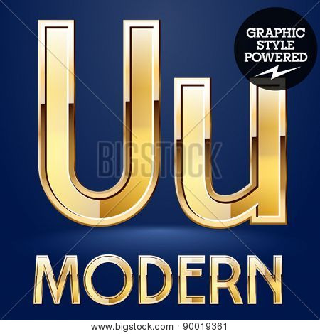 Vector set of modern golden glossy font. Letter U