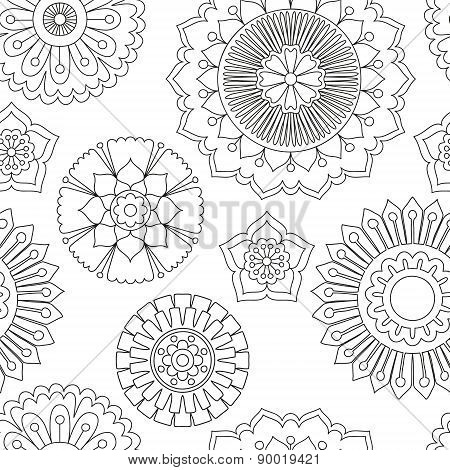 Seamless doodle flowers pattern.