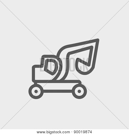 Excavator truck icon thin line for web and mobile, modern minimalistic flat design. Vector dark grey icon on light grey background.