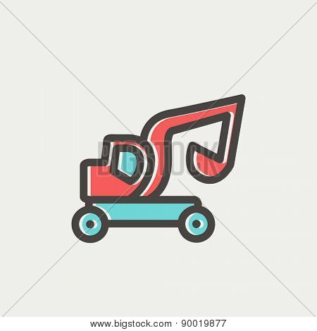 Excavator truck icon thin line for web and mobile, modern minimalistic flat design. Vector icon with dark grey outline and offset colour on light grey background.
