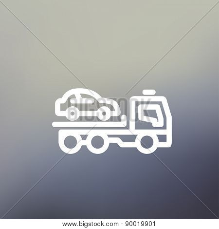 Car towing truck icon thin line for web and mobile, modern minimalistic flat design. Vector white icon on gradient mesh background.