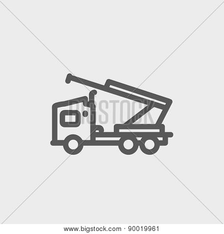 Towing truck icon thin line for web and mobile, modern minimalistic flat design. Vector dark grey icon on light grey background.
