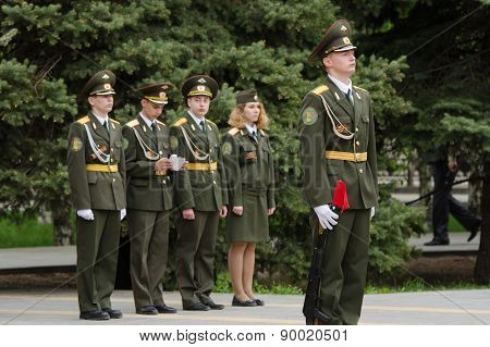 Cadet Young Guard In Guard Of Honor, Against Four Cadets