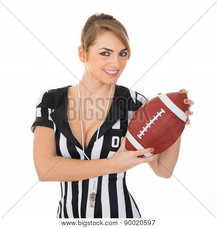 Female Referee Holding Rugby