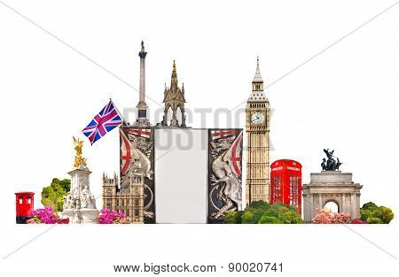 London. Tourist and business collage, London's famous buildings against of white background