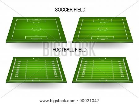 Soccer And Football Fields Set