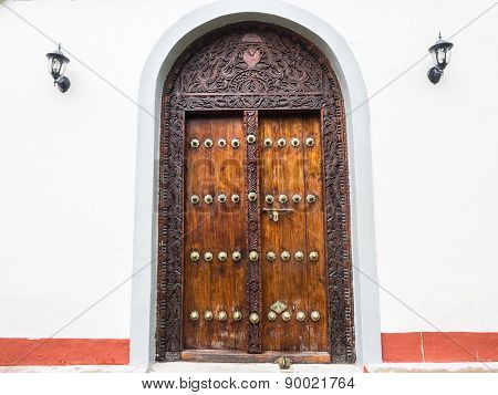 Traditional door is Stone Town, Zanzibar