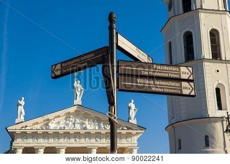 Information Street Signs In Vilnius