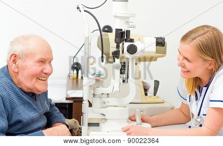 Happy Old Patient At The Ophthalmology