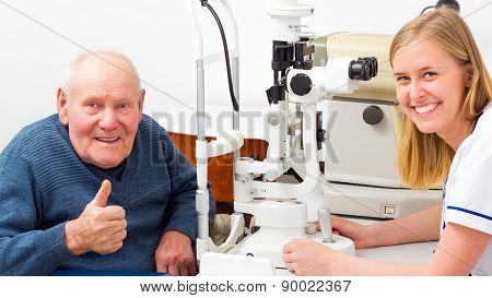 Senior Man With Presbyopia