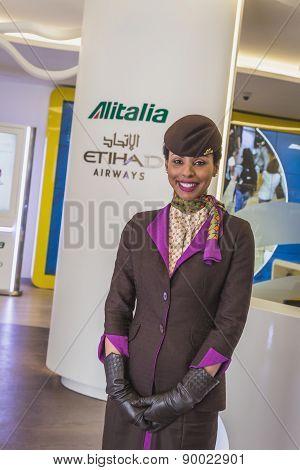 Beautiful Alitalia Etihad Hostess At Expo 2015 In Milan, Italy