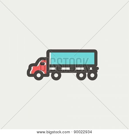 Cargo truck icon thin line for web and mobile, modern minimalistic flat design. Vector icon with dark grey outline and offset colour on light grey background.