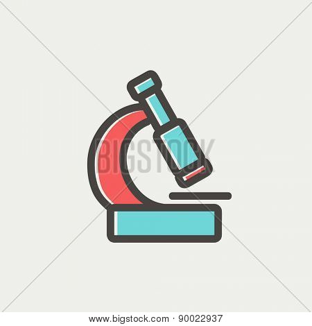 Microscope icon thin line for web and mobile, modern minimalistic flat design. Vector icon with dark grey outline and offset colour on light grey background.