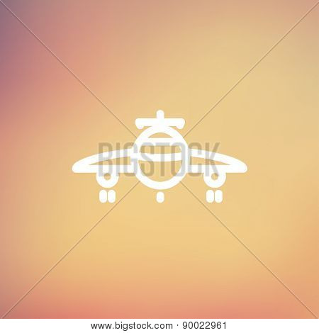 Airplane icon thin line for web and mobile, modern minimalistic flat design. Vector white icon on gradient mesh background.