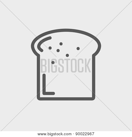 Single slice of bread icon thin line for web and mobile, modern minimalistic flat design. Vector dark grey icon on light grey background.