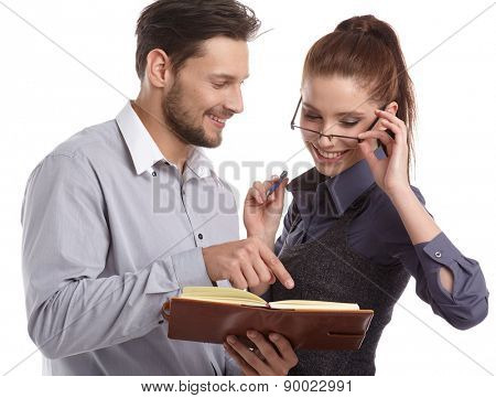 Portrait of a couple of business people working. Isolated shoot