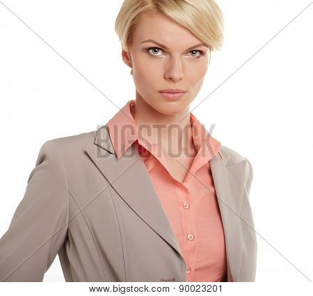 Closeup portrait of scandinavian young blonde businesswoman.