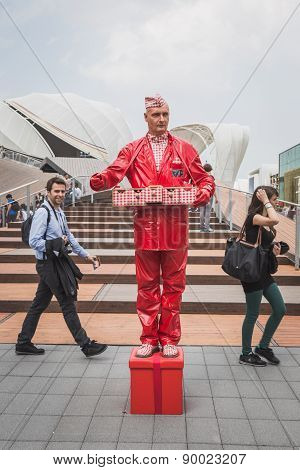 Freakish Man Outside Germani Pavilion At Expo 2015 In Milan, Italy