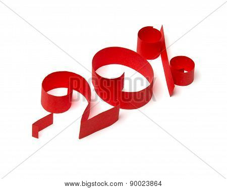 20 % Discount Sign Of Red Paper