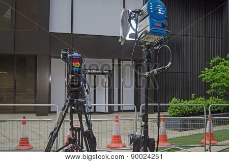 TV Cameras at Labour Party Headquarters