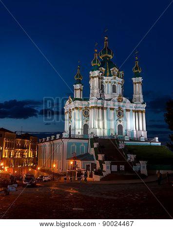 St. Andrew's Church In Kiev, Evening Lights, Ukraine