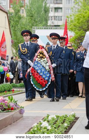 Employees Of Ir-29 Lay A Wreath At Monument To Fallen Soldiers