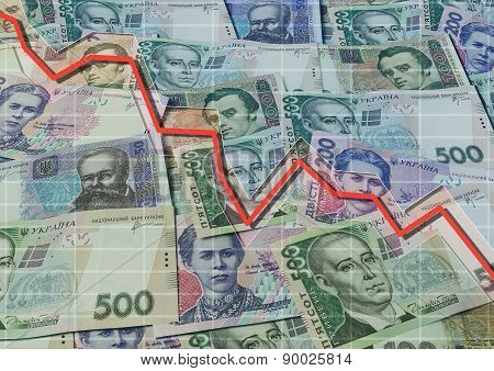 Ukrainian Banknotes Background And Descending Graph