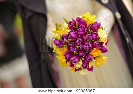 Wedding Bouquet With Purple Tulips With Yellow Freesias