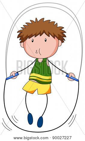 Close up boy skipping on a jump rope