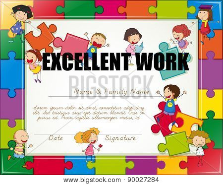 Certificate with children jigsaw border